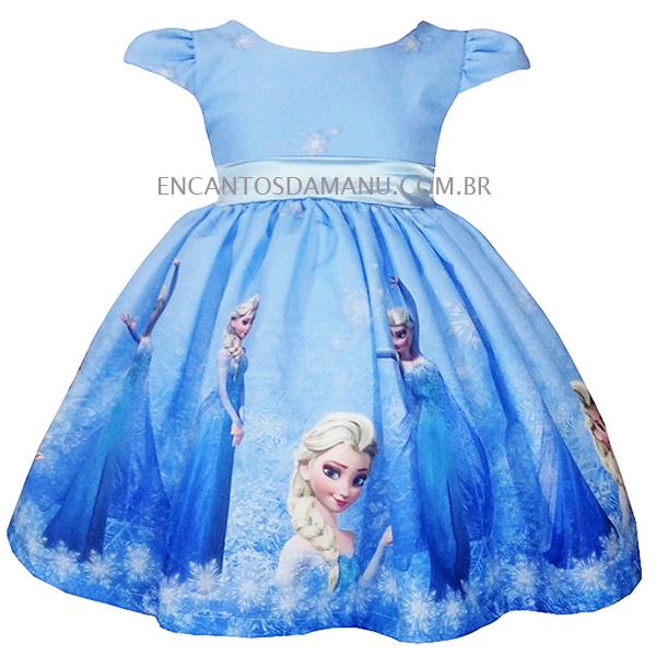 Vestido Temático Elsa Frozen Luxo