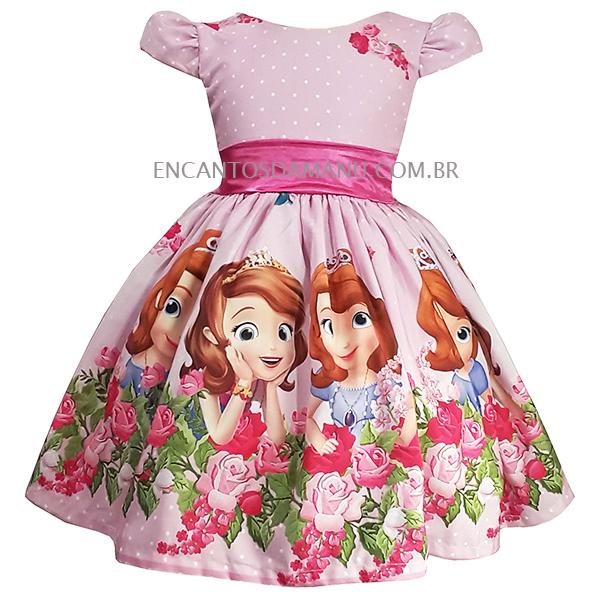 Vestido Temático Princesa Sofia Rosa Luxo